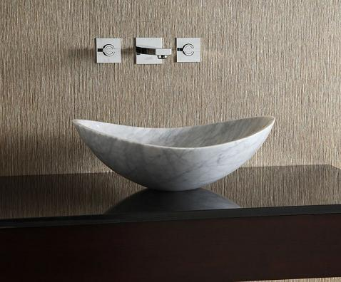 White Carrara Marble Oval Stone Vessel Sink From Xylem