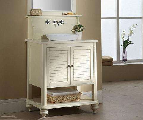 Islander Bathroom Vanity In Tropical White From Xylem - Beachy Bathroom Vanities For A Petite Master Bathroom