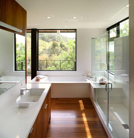 Wood Floors Can Even Work In A More Modern Bathroom, Giving It A Warm, Natural Touch (by Marmol Radziner)