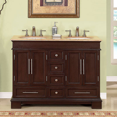 48 Inch Traditional Double Bathroom Vanity With Six Drawers And Two Cabinets From Silkroad Exclusive