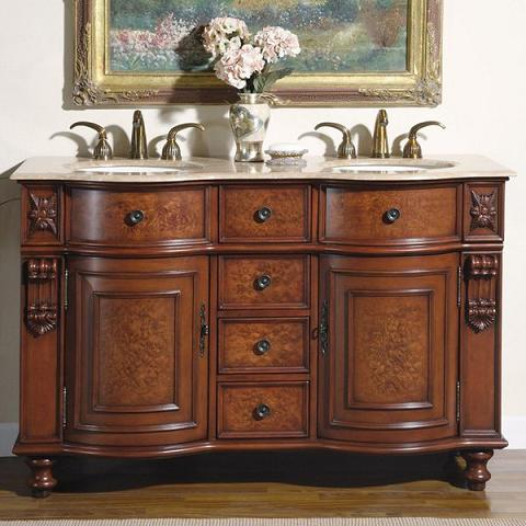 55 Inch Double Bathroom Vanity From Silkroad Exclusive