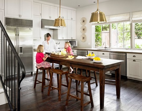 Kitchen Tables May Not Have The Same Functionality As A Fully Equipped Island, But They Can Be A Little More Family Friendly (by Hugh Jefferson Randolph Architects)