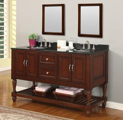 Mission Turnleg Style Double Vanity With Black Granite Top From Direct Vanity