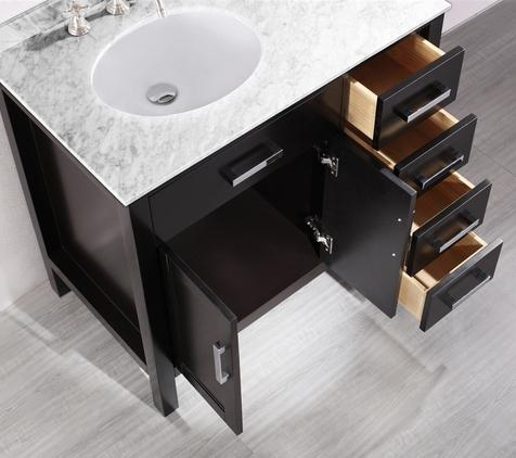 The Way This Contemporary Vanity From Bosconi Reduces The Size Of The Cabinet And Slightly Offsets The Sink Allows For Both More Counter Space And Tons Of Drawer Space