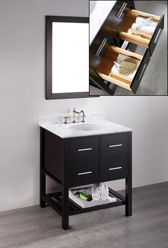 Petite Open Shelf Bathroom Vanities For A Small Bathroom