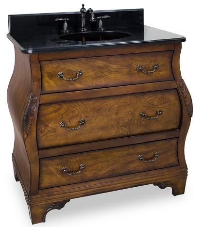 "34"" Walnut Bombe Bathroom Vanity From Hardware Resources"