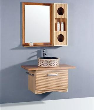 "35.5"" Bamboo Bathroom Vanity With Storage Mirror From Legion Furniture"