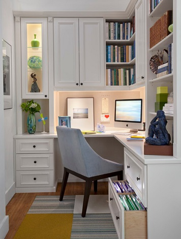 Built In, Cabinet Style Storage Will Make Your Home Office Feel Homier While Also Helping Combat Clutter (by transFORM)