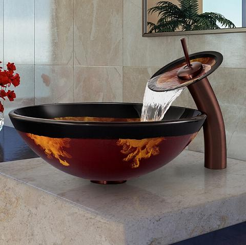 Fusion Glass Vessel Sink And Waterfall Faucet Set From Vigo Industries