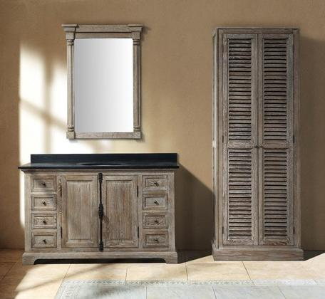 Genna Grey Single Bathroom Vanity WIth Linen Cabinet And Mirror From James Martin Furniture