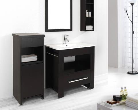 "Masselin 32"" Bathroom Vanity With Storage Cabinets And Mirror From Virtu USA"