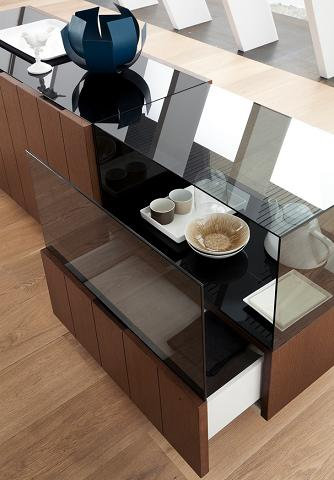 Tecla Tobacco Oak Buffet With Glass Display From Rossetto