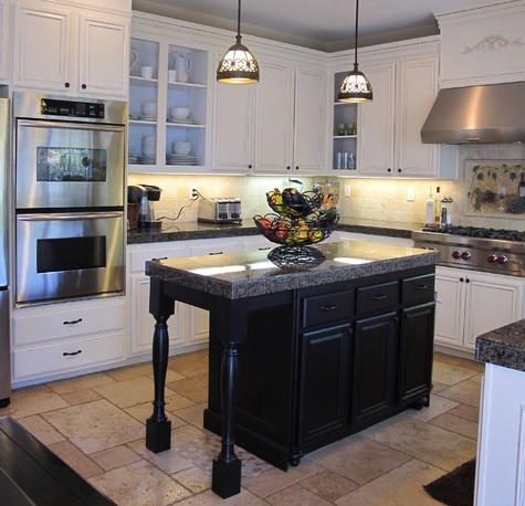 A Hefty Kitchen Island In A Contrasting Color Can Make A White Kitchen Pop (by My Uncommon Slice of Suburbia)