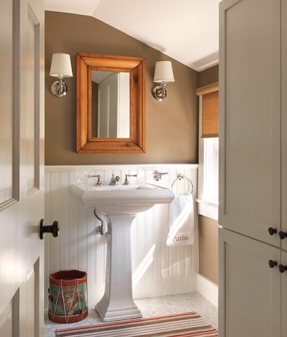 A Simple Pedestal Sink Adds An Instant Touch Of Elegance And Sophistication To A Cottage Style Bathroom (by Kate Jackson Design)
