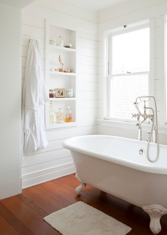 Basic Recessed Storage Creates A Casual Look And Feel, While A Few Hand Picked Antiques Can Dress Up A Cottage Style Bathroom (by Evens Architects)