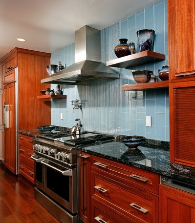 Blue Is The Most Versatile Color For A Kitchen Backsplash, With Almost Any Tint Up For Grabs, So You Can Get Exactly The Look You Want (by Case Design and Remodeling, Inc)