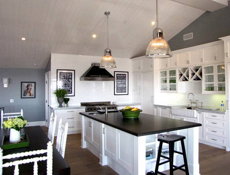 Even One Solid Black Countertop, Paired With A Few Dark Accessories Or Accents, Can Really Dress Up A White Kitchen (by Tara Bussema of Neat Organization and Design)