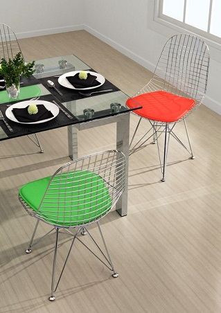 Mesh Eames Wire Style Chair With Cushions From Zuo Modern