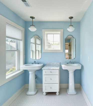 Pastel Paint Can Really Brighten Up A Cottage Bathroom, Giving It Character And Keeping The Space From Feeling Too Sterile (by Echelon Custom Homes)