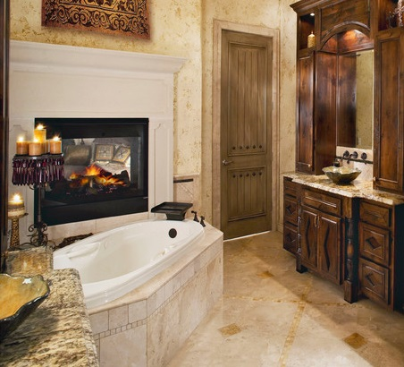 Double Sided Bathroom Fireplaces Can Offer An Enticing Little Glimpse  Between The Master Bedroom And Bathroom Part 81