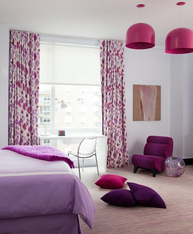 Mixing And Matching Orchid With Other Shades Of Pink And Purple Makes For A Fun, Feminine Space, But Be Careful Not To Overwhelm The Look With Dark Walls (by amanda nisbet)