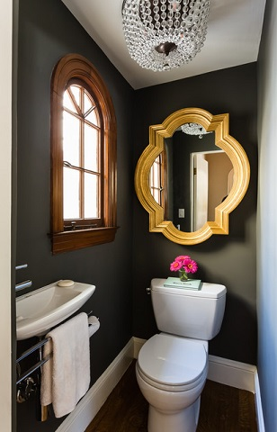 With The Right Fixtures, Good Lighting, And Well Placed Mirrors, Even The Smallest Half Bathroom Can Feel Perfectly Functional (by JL Interior Design LLC, Catherine Nguyen, Neill & Lee Contractors)
