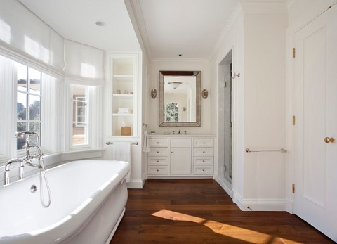 Engineered hardwood floors offer slightly more moisture resistance without sacrificing the look and feel of natural hardwood (by Matarozzi Pelsinger Builders, photo by Mariko Reed, architect Ian Moller)