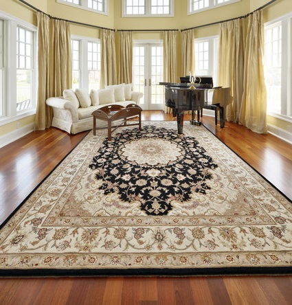 Silk is added to wool to enhance the details and give the whole rug a gorgeous, subtle shimmer (by Echelon Custom Homes)