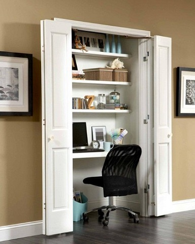 Closets Are The Perfect Size And Shape For Adding A Workstation, And Allow  Messy Desks