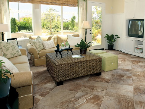 Earthen Essence Glazed Porcelain Tile in Caramel From Tesoro
