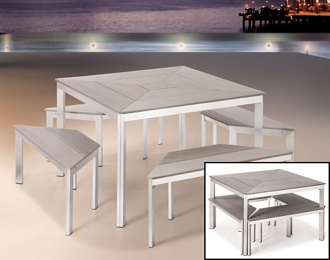 Center Dining Table And Benches From Zuo Modern 703215