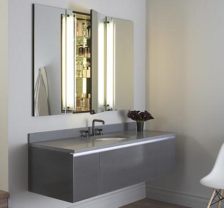 Three Drawer Deep Bathroom Vanity In Tinted Gray From Robern