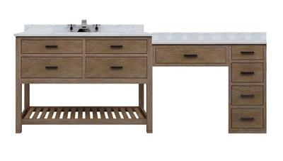 toby 84 modular single bathroom vanity with makeup station from sagehill designs