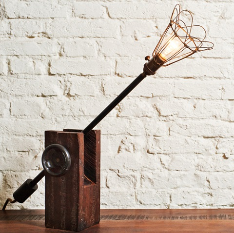 VR25C Table Lamp In Reclaimed Wood And Metal HGDA151 From Nuevo Living