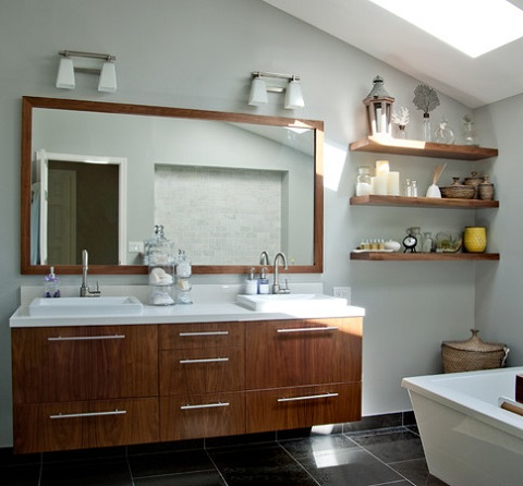 Reclaimed Wood Shelves: A Trendy Addition To A Modern Bathroom