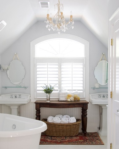 These Shapely Mirrors Add A Touch Of Elegance To This Upscale Cottage  Bathroom, But Between