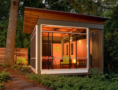 outside home office. a home office shed offers comfortable private place to meet with clients outside your y
