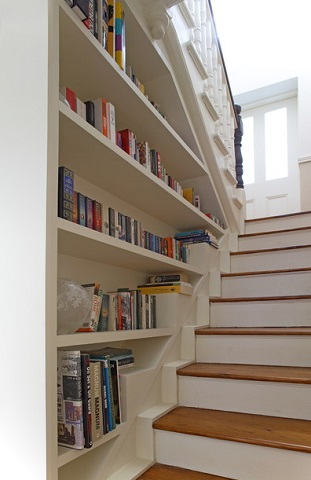 Recessed Bookshelves Can Cover The Entire Wall Of A Staircase Converting Blank Into