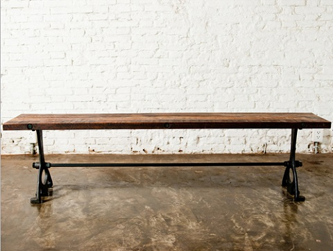 V32 Dining Bench In Reclaimed Wood And Metal HGDA132 from Nuevo Living