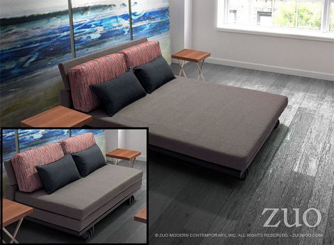 Felicity Sleeper Sofa 900652 In Gray With Red And Gray Print From Zuo Modern