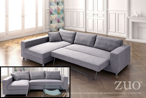 Roxboro Sleeper Sectional In Gray 900653 from Zuo Modern : modern sectional sleeper - Sectionals, Sofas & Couches