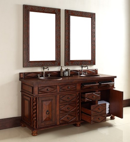 "Continental 72"" Double Bathroom Vanity In Burnished Cherry 100-V72-BCH from James Martin Furniture"