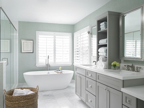 Gray bathroom vanities don't build a bathroom on their own - it takes careful coordination to bring out their beauty and elegance (By Celtic Home Gallery, interior by Krista Watterworth)