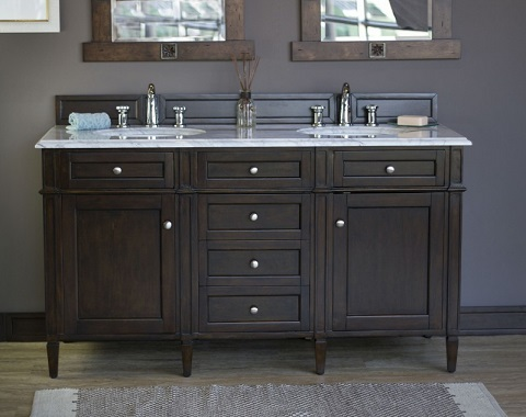 "Brittany 60"" Double Bathroom Vanity Cabinet in Burnished Mahogany 650-V60D-BNM from James Martin Furniture"