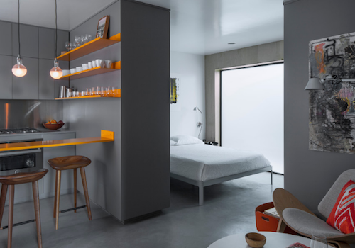 This studio apartment is a great example of well-utilized space. (By Vertebrae Architecture)