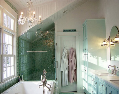 Try combining different types of lighting in your bathroom