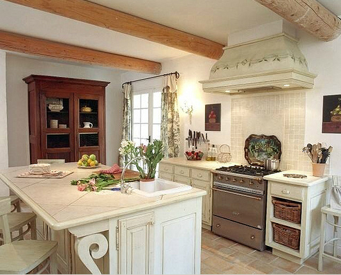 White and Cream Provincial Kitchen