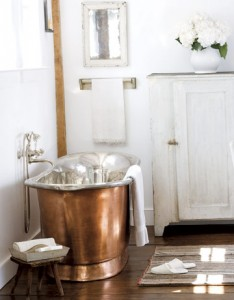 A Copper Tub Makes A Great Centerpiece For A Cottage Bathroom