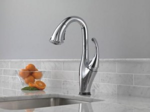 Delta 9992T Addison Kitchen Single Handle Pull-Down Bar Prep Faucet Featuring Touch2O Technology and Diamond Seal Valve