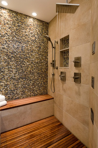 Even a simple shower system can put out a whole lot of water at once (by Geneva Cabinet Gallery)